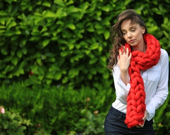 Chunky knitted Scarf, 70+ colours Giant Extreme Infinity chain scarf, Super chunky bulky scarf, knitting Merino, chunky yarn, M045