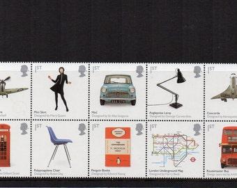 British Design Classics unused postage stamp set, presentation pack 2009. GB Mini, Concorde, London Underground. Craft art supply mint