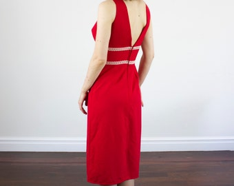 Vintage 1950s Red Dress / Lace Detail / Dipped V Back / Plunging Neckline / XS/S