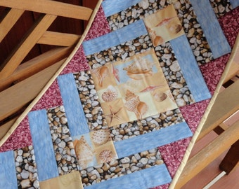 Quilted Large Table Runner, Beach Motif Home Decor, Shell Table Runner,  Dining Room