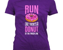 Funny Running Shirt Run Like There's A Donut At The Finish Line Fitness Clothes Workout Outfits Gym Tops Running Tops Ladies Tee WT-35A