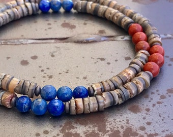 Men's shell Necklace Beaded necklace Natural stone necklace Brown Necklace  Gift for him  (#42)