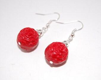 Red lacquer Chinese drop earrings,Flowers,Carved,Bridesmaids,gifts, Earrings,Drop Earrings ,Dangle Earings ,Boho Jewelry ,Oriental Asian Zen
