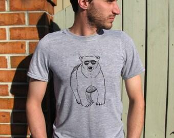 Mens shirt, Mens Tee, Bear Shirt, Mens Tshirt, Polar Bear shirt, Polar Bear, Bear, Animal Shirt, Funny Tshirt, Crew neck