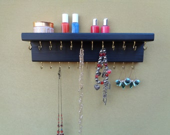 30 DIFFERENT FINISHES - Jewelry Organizer - Necklace Holder - Wall Jewelry Display - Wall Mounted - 23 Hooks - With A Shelf