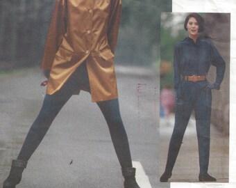 1990s Jumpsuit Vogue Attitudes 2567 Stirrups Blouson Elastic Waist Loose Fitting Jacket Detachable Hood Size 8-10-12 Bust 31.5 32.5 34 Uncut