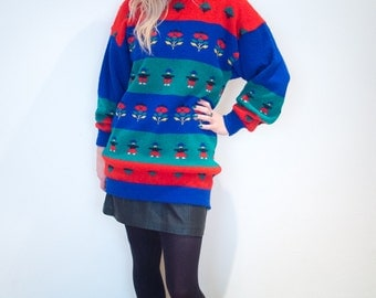 Vintage Colour Block People Knit Jumper