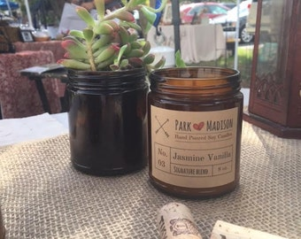Jasmine Vanilla Soy Candle, Soy Candles Handmade, Scented Soy Candle, Vanilla Soy Candle, Jasmine Soy Candle, Gifts