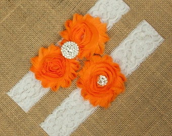 Orange Wedding Garter, Orange Bridal Garter, Orange Garter Belt, Orange Garter Set, Garter Belt Orange, White Lace Garter, Garter, SCWS-O02