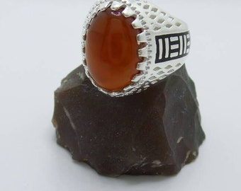 SALE Carnelian Sterling Silver Ring, size 9.