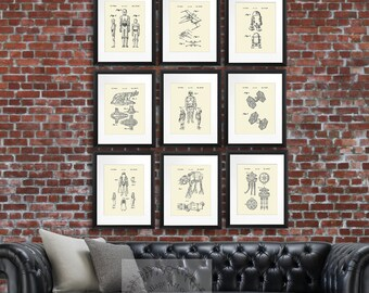 Star Wars Home Decor set of 9 prints, Star Wars Movie patent art, Star Wars Kids Room Decor, Star Wars Wall Decor, Boys Room Decor