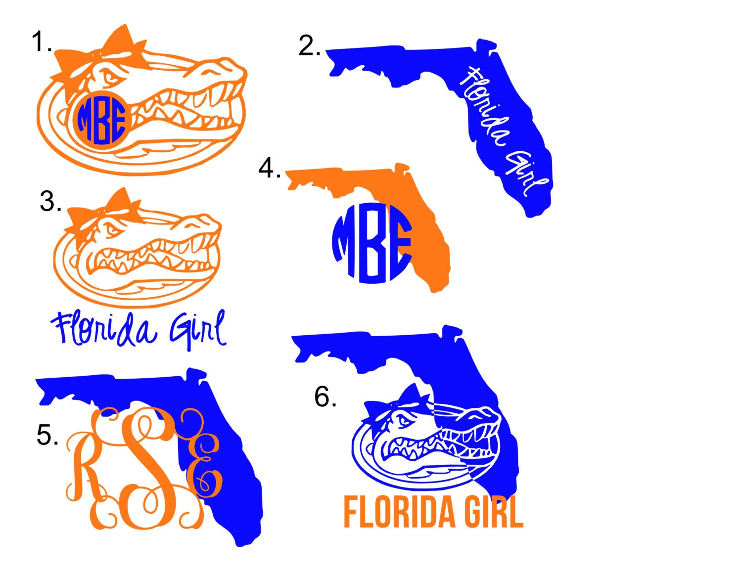 Florida Gator Stickers : Florida gator monogram decal by overthetopoccasions on etsy