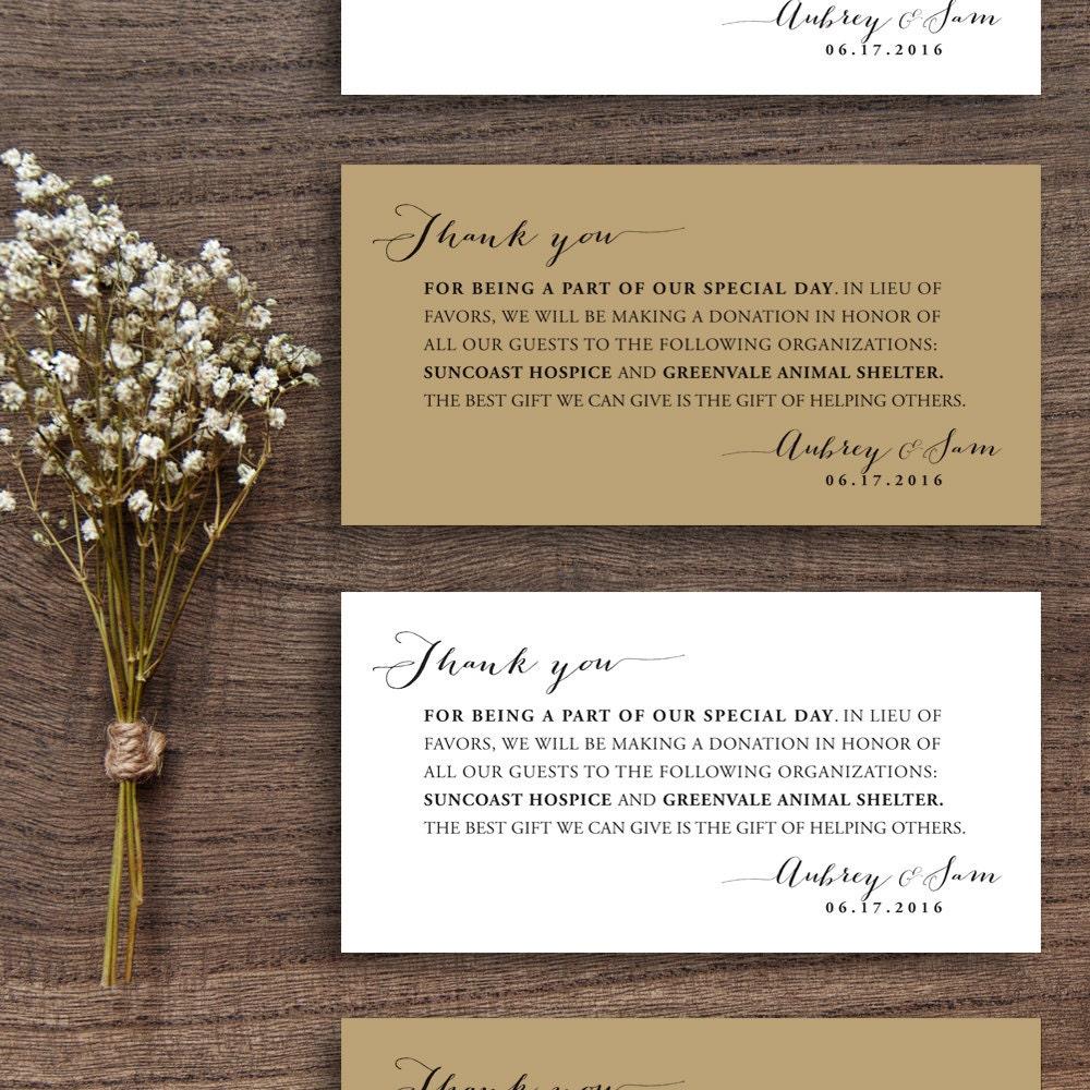 printable wedding donation favor cards wedding thank you