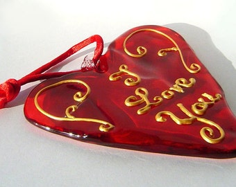 """Red Glass Heart """"I Love You"""""""