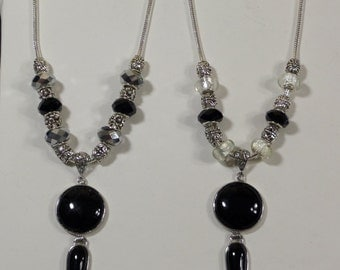 Black and White Charm Pendant Necklace