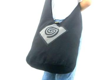 Spiral Sling Bag Hobo Bag Boho Bag Hippie Bag Crossbody Bag Bohemian Bag Shoulder Bag Messenger Bag Black Gray color Bag Thai Hippie Bag