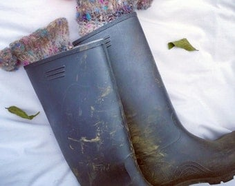 Boot Toppers, Wellie Toppers, Festival Toppers, Hand Knit, Marbled Mohair, Textured, size L .
