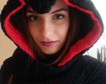 Handmade Assassin's Creed Costume Hooded Scarf, Halloween Handmade Hooded Cowl for Cosplay/Unisex hoodie