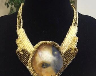 Handmade beaded bib necklace