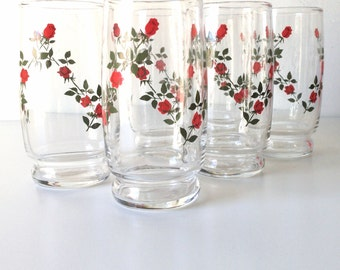 Vintage Libbey Red Rose  Drinking Juice Glasses - High Ball - Set Of 6 - Unmarked Probably Libbey Glass