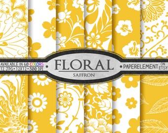 Saffron Yellow Scrapbook Paper: Yellow Flower Paper, Digital Flowers Paper - Instant Download Yellow Floral Paper