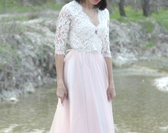 Wedding lace dress, long sleeve lace wedding dress, bohemian wedding dress. Rustic wedding dress, modest wedding dress, tulle skirt