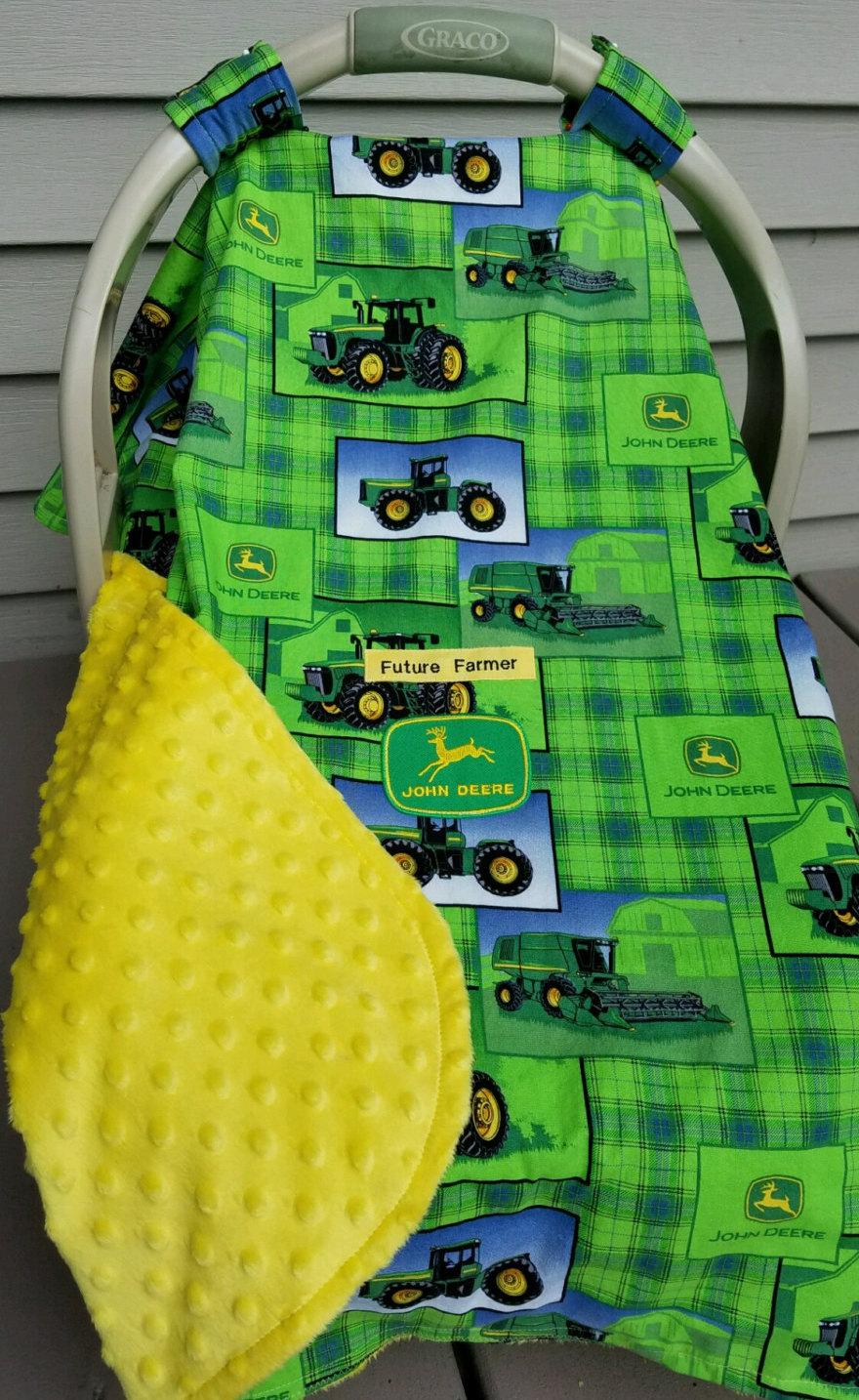 John Deere Truck Seat : Car seat canopy cover john deere tractor baby by