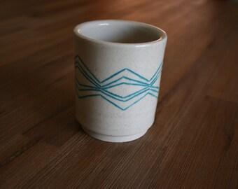 Teal Geometric Handmade Ceramic Tumbler