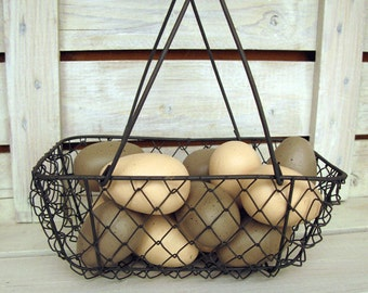 Painted Wood Eggs - Beige and Pewter Speckled Eggs - Farm Eggs -  Half Dozen Wood Eggs