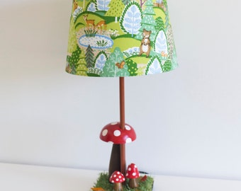 Woodland nursery toadstool and grass lamp with Japenese green Kokka forest animals bear lamp shade