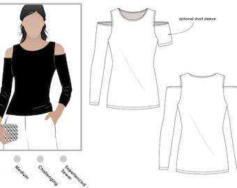 Cold Shoulder Knit Top // Sizes 10, 12 & 14 // PDF Women's top sewing pattern by Style Arc for printing at home