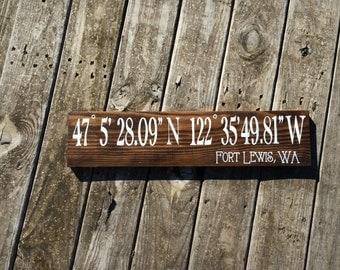 Custom Coordinates Sign, City State GPS Map Sign, Latitude Longitude Location Sign, Custom Valentine Gift, Wedding Gift, Couples Gift