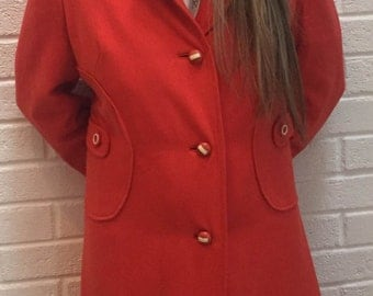 Womens vintage 1960's Red Coat. UK size 10-12