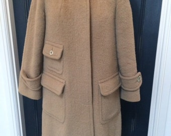 Vintage 1960's Wool Aquascutum Beige Coat. UK 12-14