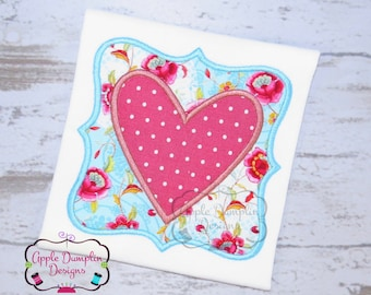Framed Heart Applique Design, Embroidery Design, Valentine, Spring, Summer, Girl, Easter, Frame Applique, 4x4, 5x7, 6x10, 8x8