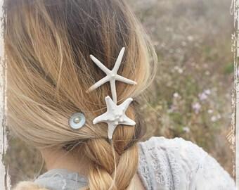 Beach Wedding Starfish Bobby Pin Set - Beachcomber Hair Accessories - Mermaid Hair Accessory - Beach Bride Seashell Hair Pin Mermaid Costume