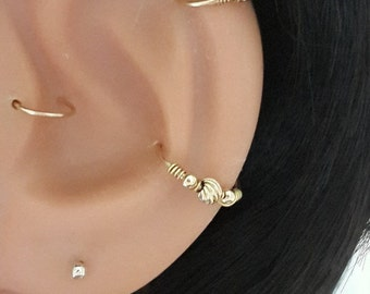 Gold beads conch earring,gold filled hoop earring, conch hoop, conch piercing, gold earring conch, conch ring, conch jewelry