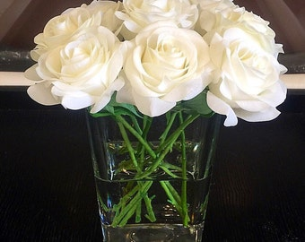 Real Touch Rose Centerpiece, White Rose Floral Arrangement, Silk Rose Centerpiece, Rose Arrangement Set in Faux Water,