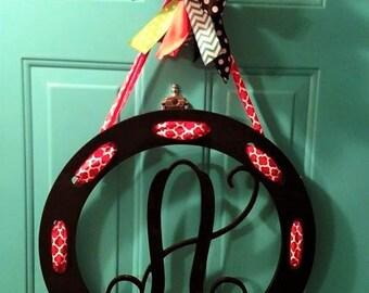 """22"""" Wood Monogram Door hanger with Ribbons"""
