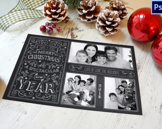 Christmas Card Template, Chalkboard Christmas Card, PHOTOSHOP TEMPLATE, INSTANT Download, Photographer template, Commercial Use