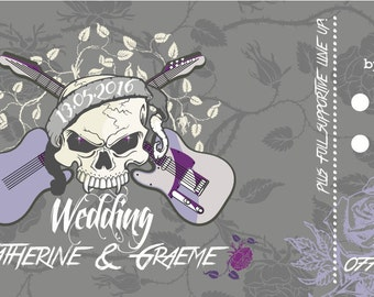 SAMPLE Skull Hard Rock Heavy Metal Concert Ticket Wedding Invitations!