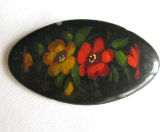 Vintage Metal Flower Brooch, Floral Brooch, Metal Flower Pin, Antique Black Brooch, Vintage Accessory
