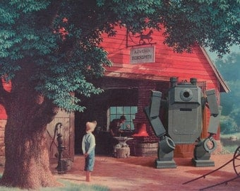 """4"""" by 6"""" postcard print, """"Blacksmith and Bot"""" Altered Thrift Store Art"""