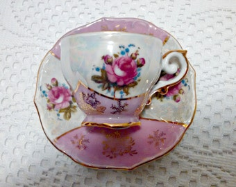 Vintage Lustreware Tea Cup and Saucer with Pink Roses, Gold Trim, Porcelain, Demitasse Cup, Mid Century, Circa 1950s