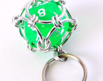Bright Green Dice Keychain, Caged Chainmaille D20 Geek Keyring, Father's Day Gift, Geek Gift, Dungeons and Dragons, DnD, RPG Accessories