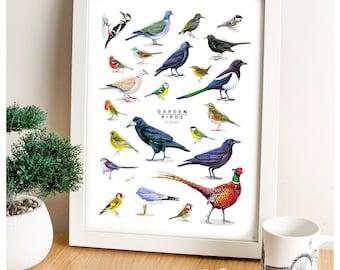 Garden Birds, Birds Print, British Wildlife, Bird Poster, Art Print, Kitchen Wall Art, Bird Print, Wildlife Art, Farmhouse Decor