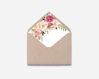 Envelope Liner, Watercolor Flower, DIY (460)