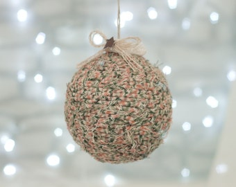 Green, Orange & Tan Rag Ball Ornament with Rusted Star