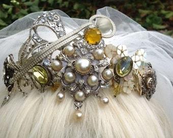Hand Created Vintage Brooch Tiara