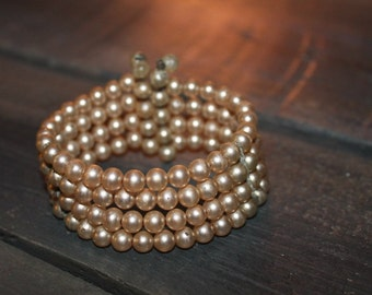 Multi-stranded Pink Pearl Beaded Bracelet